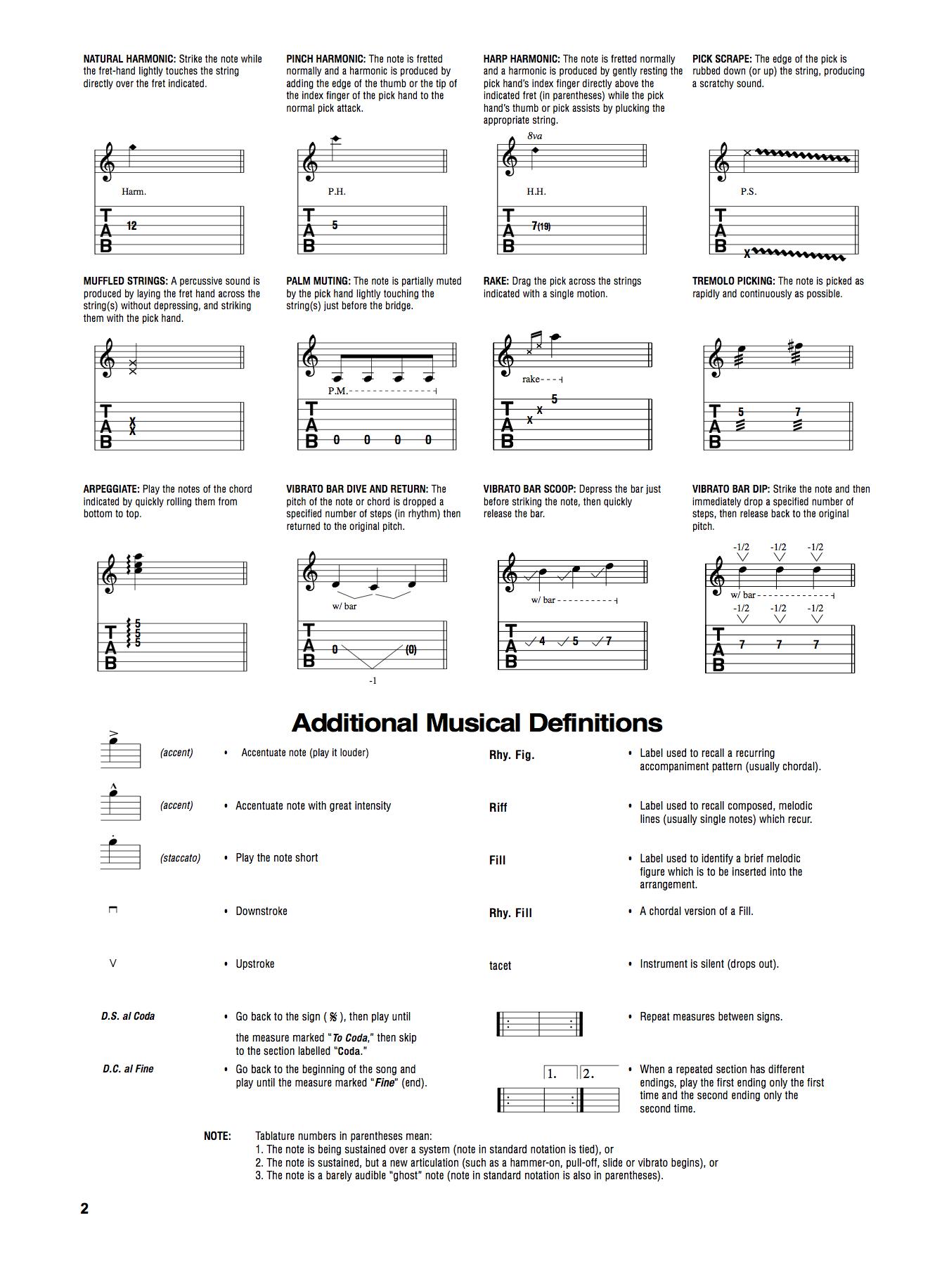 Les notations des tablatures de guitare : explication de chaque signe et symbole (suite)