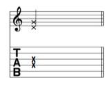 La notation sur les tablatures pour les cordes étouffées (muffled strings)
