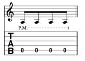 La notation sur les partitions de guitare pour la technique du palm muting